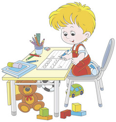 Boy doing homework after his game with toys vector
