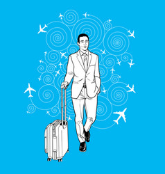 businessman carrying a luggage at airport vector image