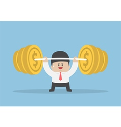 Businessman lifting up barbell with coin weight vector