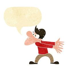 Cartoon annoyed man gesturing with speech bubble vector