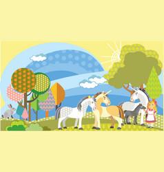 Cartoon unicorns and girl vector