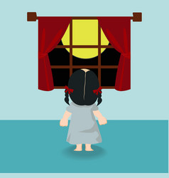 child girl standing back in the window vector image