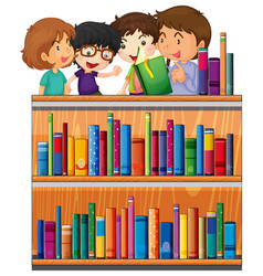 children reading books in library vector image vector image