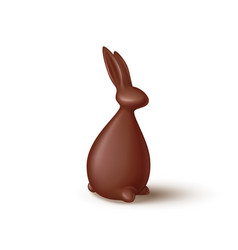 chocolate rabbit isolated on white background vector image