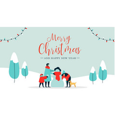 christmas and happy new year family wintertime vector image