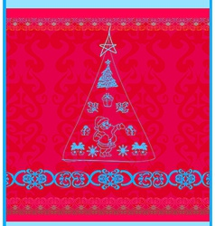 Christmas with doodle christmas tree vector image