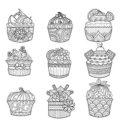 cupcake coloring vector image