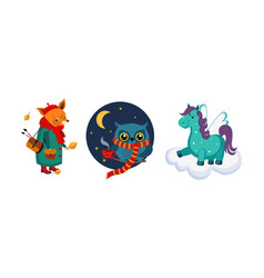 cute funny animals characters in different actions vector image