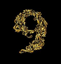 Decorated nine digit on black vector
