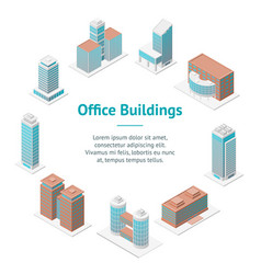 different types office building 3d banner card vector image