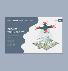 drones technology landing smart city isometric vector image