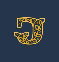 Elegant linear letter j initial ornate logotype vector