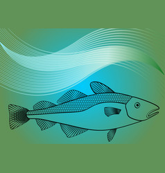 fish monoline drawing on sea lagoon colored vector image vector image