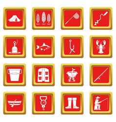 fishing tools icons set red vector image