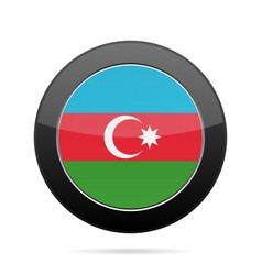 Flag of azerbaijan shiny black round button vector