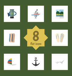 flat icon summer set of boat surfing deck chair vector image