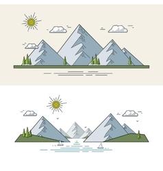 Flat mountain landscape vector