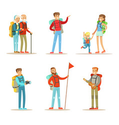 flat set happy people with backpacks vector image