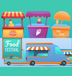 Food festival banner set cartoon style vector