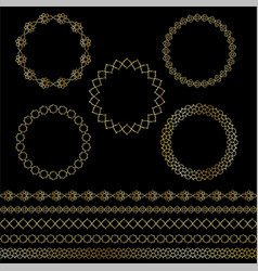 golden moroccan frames and borders clipart vector image