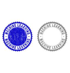 Grunge machine learning textured stamp seals vector