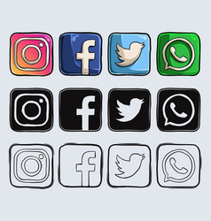 hand drawn popular social media logos and icons vector image