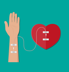 hand of donor with heart vector image