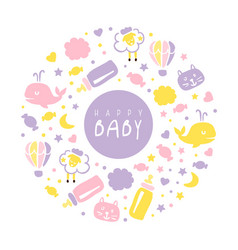 Happy babanner template kid products and vector