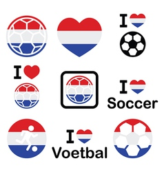 I love Dutch football soccer icons set vector
