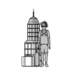 Isolated airport and tourist man design vector