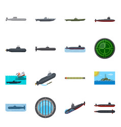 Isolated object boat and navy symbol set of vector