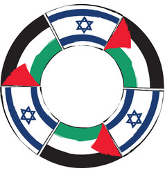israel and palestine flags or banner vector image