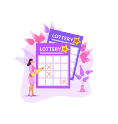 leading girl notes numbers lottery lotto raffle vector image