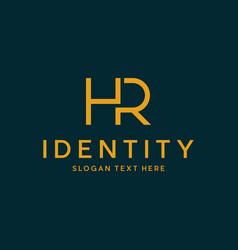 Letter hr minimalist monogram modern logo vector