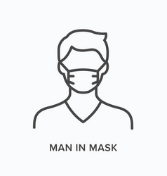 man in mask flat line icon outline vector image