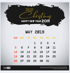 May 2019 new year calendar template brush stroke vector
