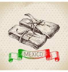 Mexican traditional food background with tamale vector