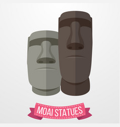 Moai statues icon on white background vector