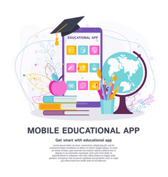 mobile educational app flat concept vector image