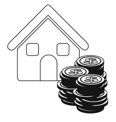 Monochrome contour with house and stacking coins vector
