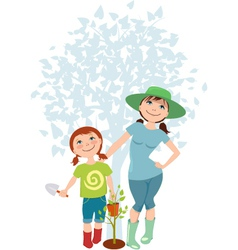 Mother and daughter planting a tree vector