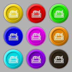 Newspaper icon sign symbol on nine round colourful vector image