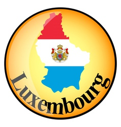 Orange button with the image maps of luxembourg vector