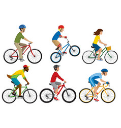 people riding various bicycle in set vector image