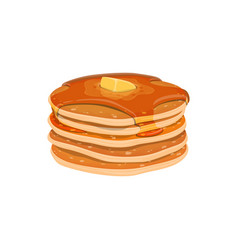 Pile homemade pancakes isolated vector
