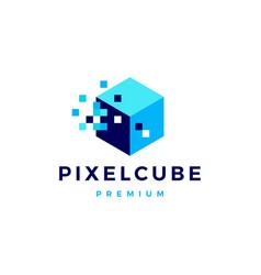 Pixel cube box digital logo icon vector