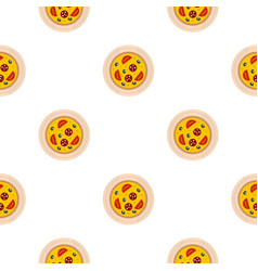 Pizza with sausage tomatoes and olives pattern vector
