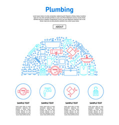 plumbing equipments and tools card vector image
