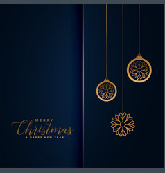 Premium christmas festival greeting in royal blue vector