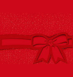 Red festive background with bow and ribbon vector
